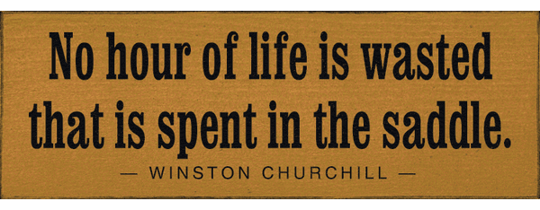 Famous Quotes Sign...No Hour Of Life Is Wasted That Is Spent In The Saddle. - Winston