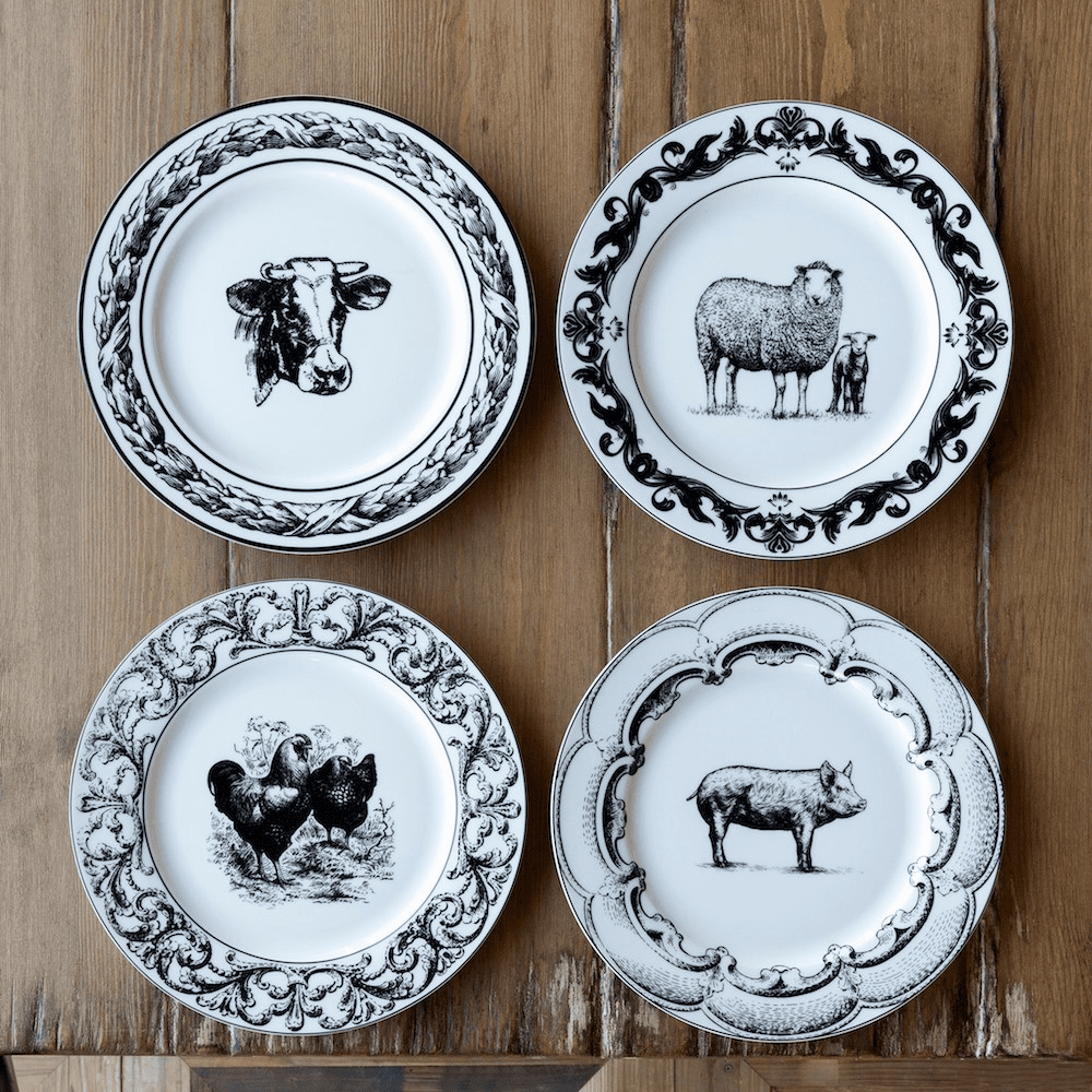 Farm Living Ceramic Dishes Four 5-Piece Place Settings