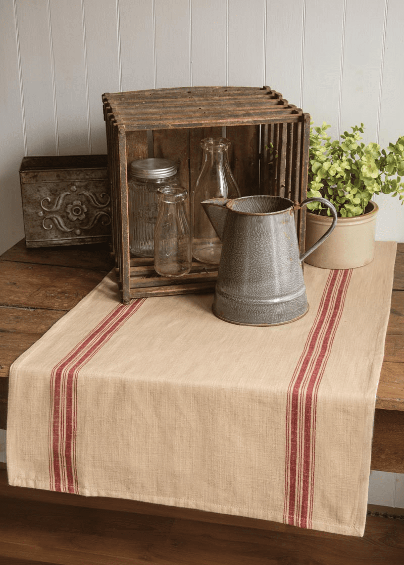 Farmhouse Kitchen Table Runner with Stripes