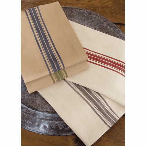 Farmhouse Kitchen Tea Towels with Stripes, set of 4