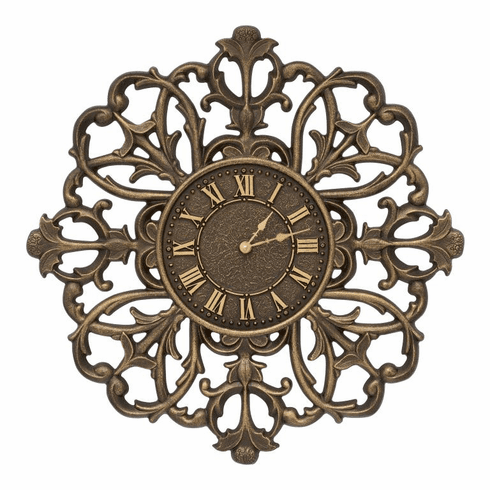 Filigree Silhouette 21 inches Indoor Outdoor Wall Clock - Aged Bronze
