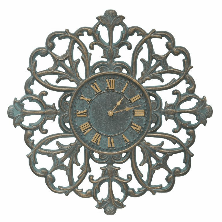 Filigree Silhouette 21 inches Indoor Outdoor Wall Clock - Bronze Verdigris