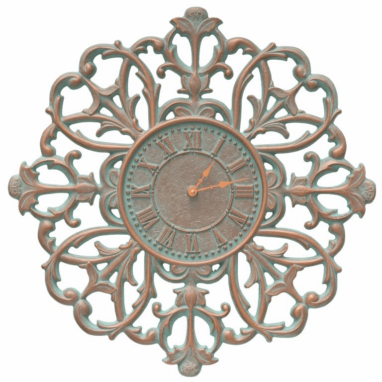 Filigree Silhouette 21 inches Indoor Outdoor Wall Clock - Copper Verdigris