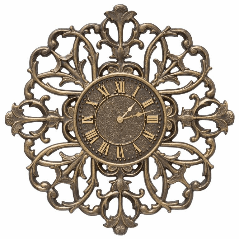 Filigree Silhouette 21 inches Indoor Outdoor Wall Clock - French Bronze
