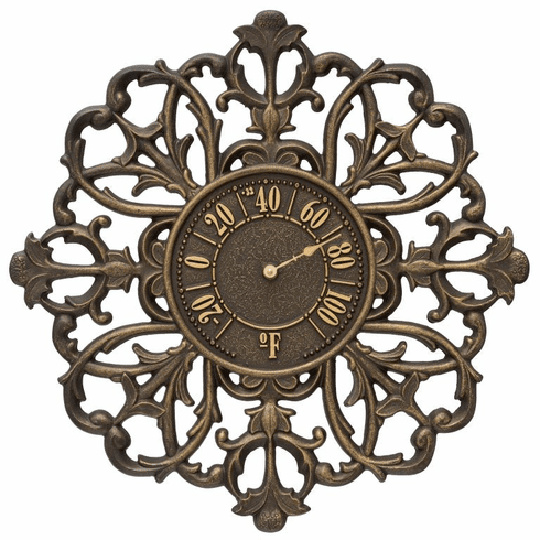 Filigree Silhouette 21 inches Indoor Outdoor Wall Thermometer - Aged Bronze