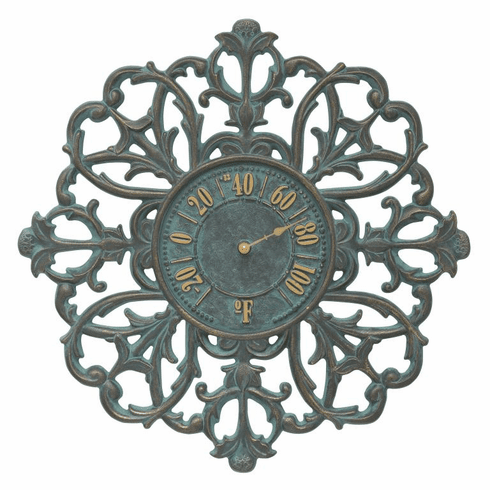Filigree Silhouette 21 inches Indoor Outdoor Wall Thermometer - Bronze Verdigris
