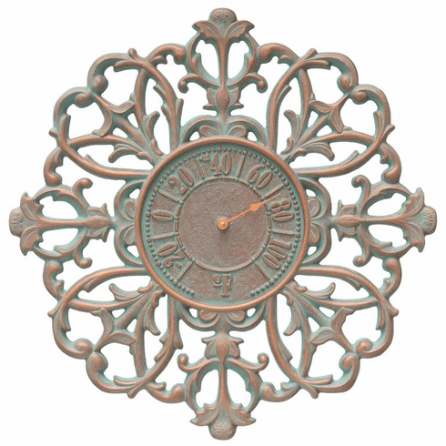 Filigree Silhouette 21 inches Indoor Outdoor Wall Thermometer - Copper Verdigris