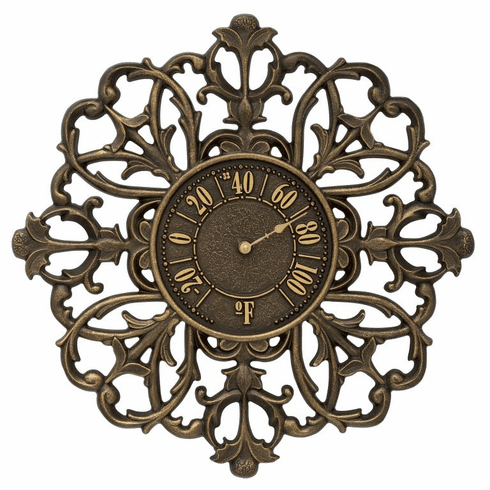 Filigree Silhouette 21 inches Indoor Outdoor Wall Thermometer - French Bronze