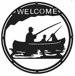 Fisherman Round Welcome Sign
