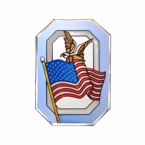 Flag and Eagle Stained Glass Art Glass