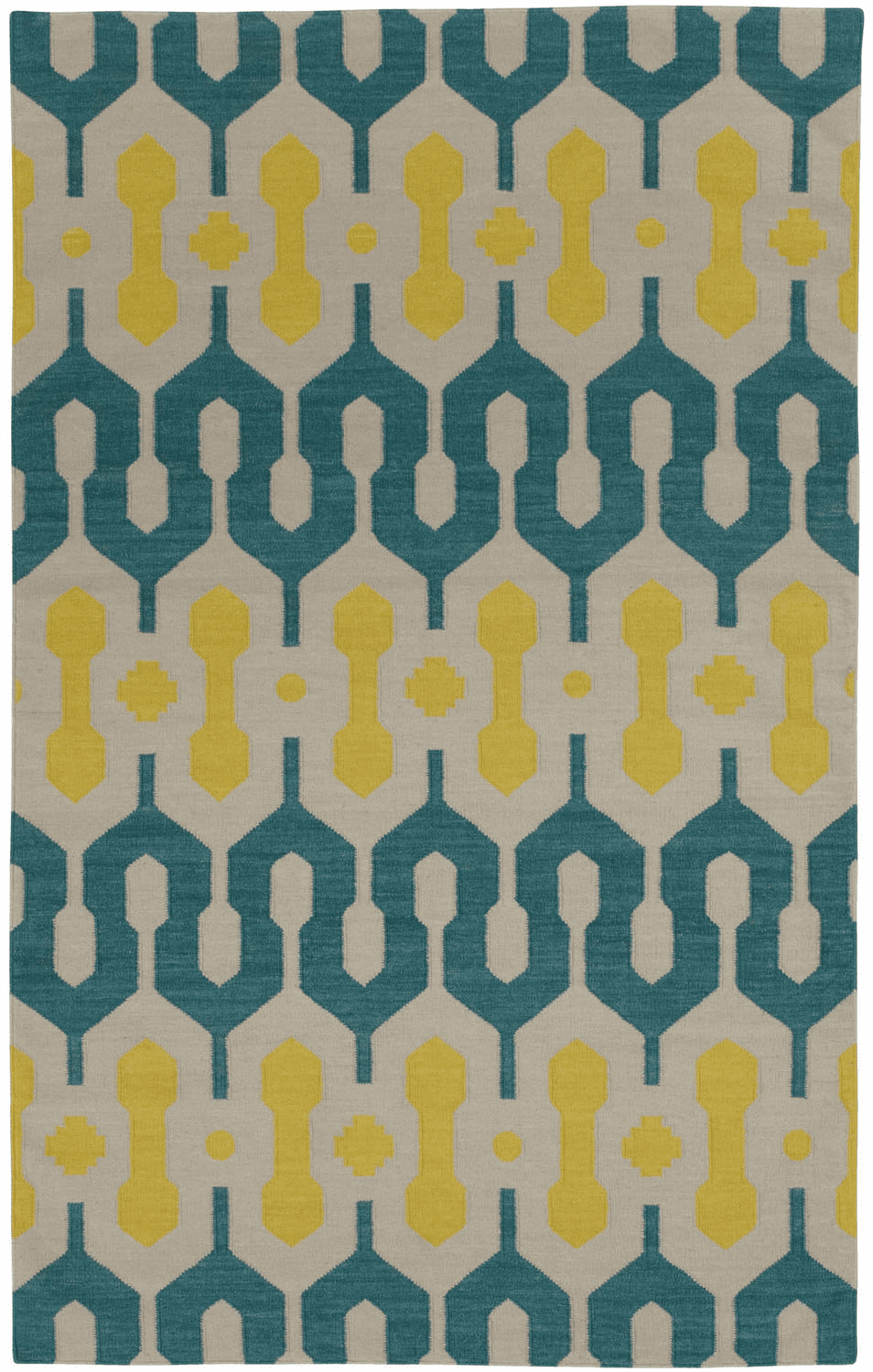 Flat Woven Blue Green Yellow Rug
