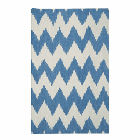 Flat Woven Medium Blue Rug