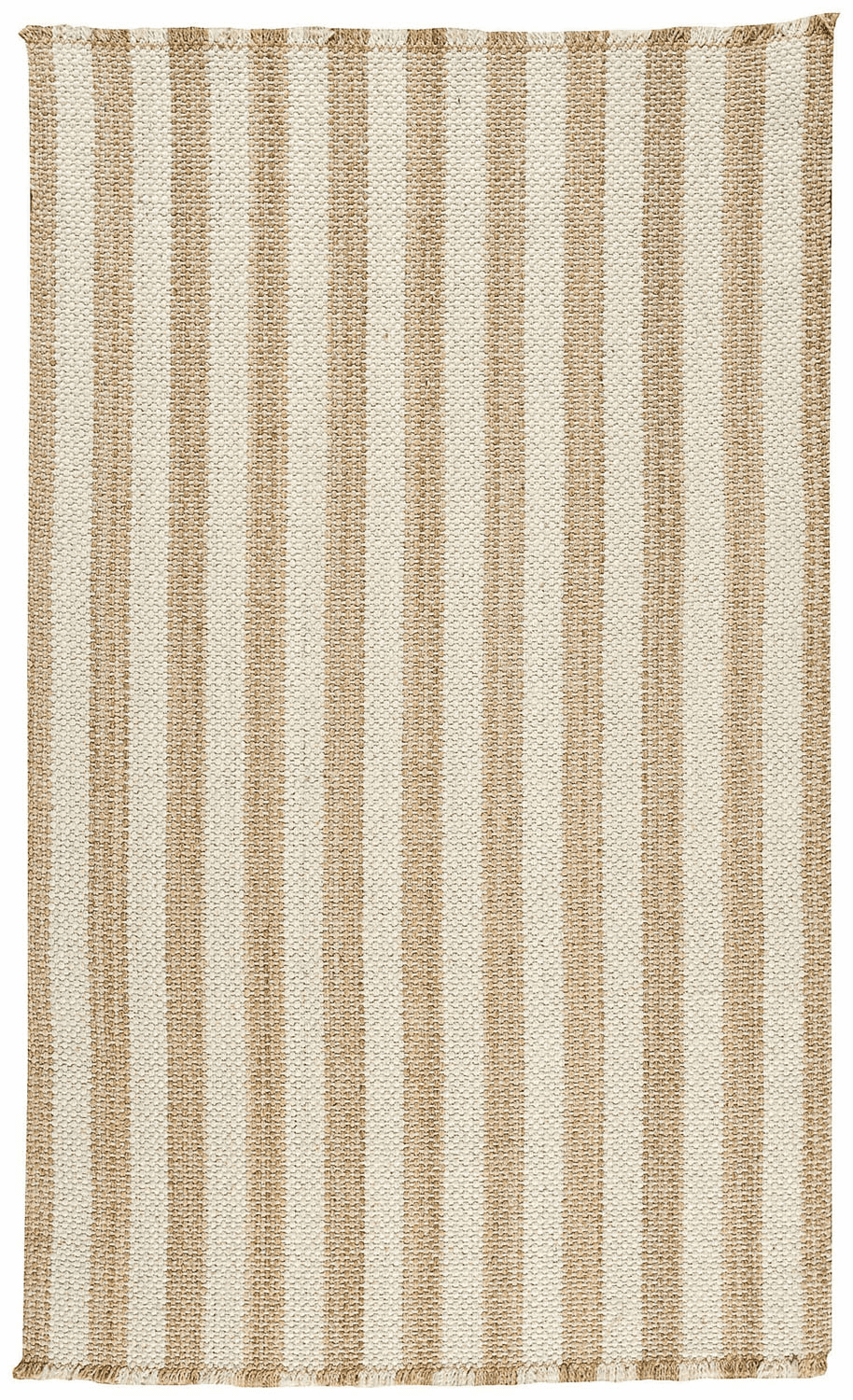 Flat Woven Tan and White Rug