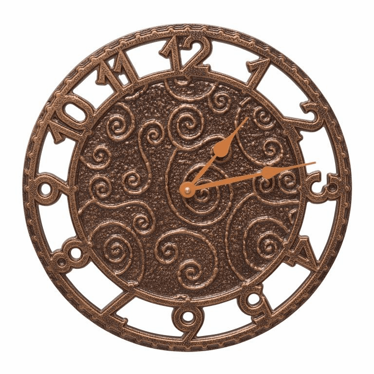 Flourish 14 inches Indoor Outdoor Wall Clock - Antique Copper