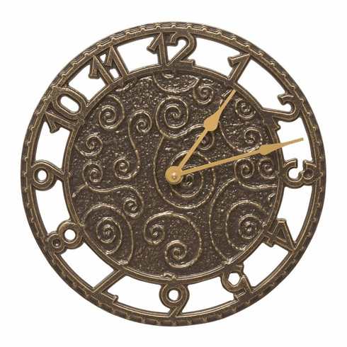 Flourish 14 inches Indoor Outdoor Wall Clock - French Bronze
