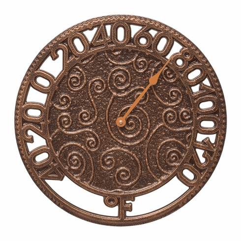 Flourish 14 inches Indoor Outdoor Wall Thermometer - Antique Copper