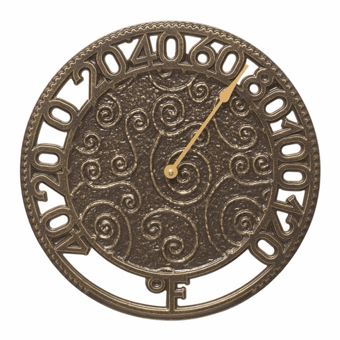 Flourish 14 inches Indoor Outdoor Wall Thermometer - French Bronze