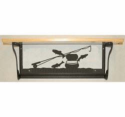Fly-Rod Fish Rustic Towel Bar with Shelf
