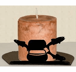 Fly-Rod Fish Silhouette Candle Holder