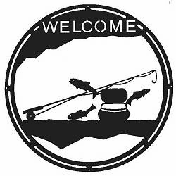 Fly Rod Fishing Round Sign