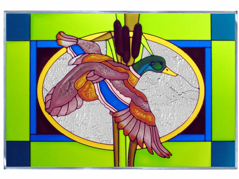 Flying Duck II Stained Glass Art Glass