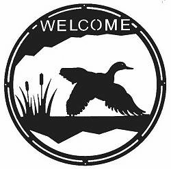 Flying Duck Round Welcome Sign