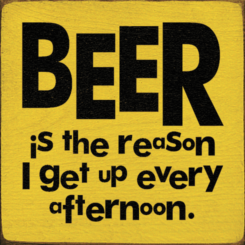 Food & Drink Sign...Beer Is The Reason I Get Up Every Afternoon