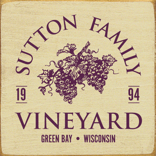 Food & Drink Sign...Custom Family Name Vineyard - Custom Date - City, State
