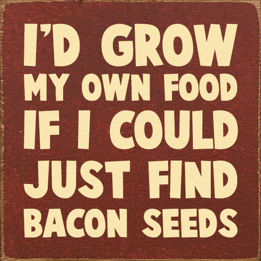 Food & Drink Sign...I'd Grow My Own Food If I Could Just Find Bacon Seeds