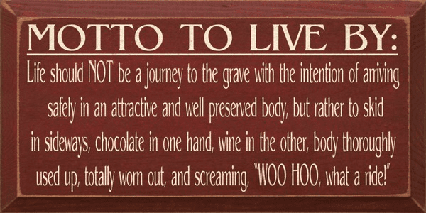 Food & Drink Sign...Motto To Live By...Chocolate And Wine