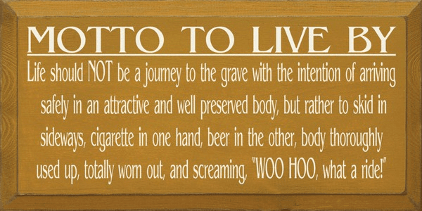 Food & Drink Sign...Motto To Live By - Cigarette And Beer