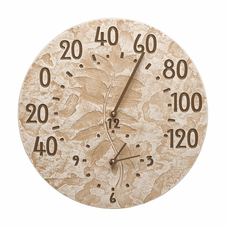 Fossil Sumac Thermometer Clock - Weathered Limestone