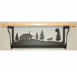 Fox and Cabin Rustic Towel Bar with Shelf