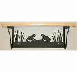 Frog Rustic Towel Bar with Shelf