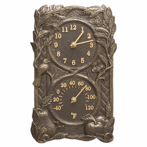 Fruit Bird Indoor Outdoor Wall Clock & Thermometer - French Bronze