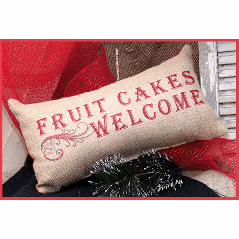 Fruit Cakes Welcome Merry Christmas Pillow, 8in x 18in