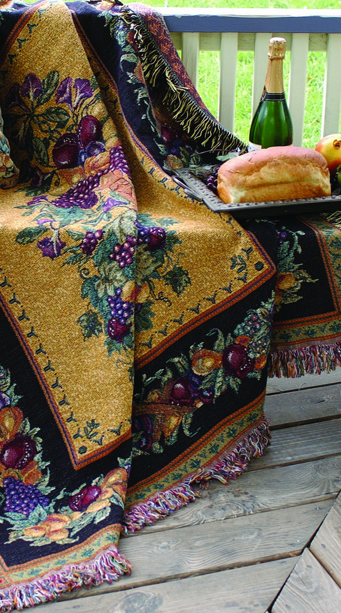 Fruits and Flowers Tapestry Throw