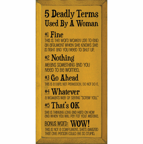 Funny Sign...5 Deadly Terms Used By A Woman: 1. Fine: This Is The Word Women Use