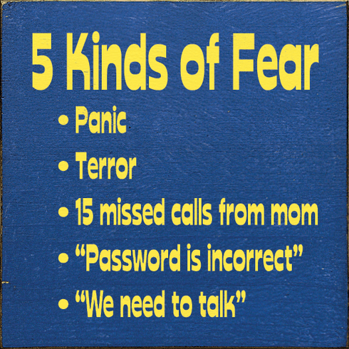 Funny Sign...5 Kinds Of Fear: Panic, Terror, 15 Missed Calls From Mom