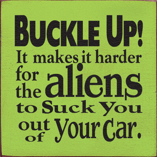 Funny Sign...Buckle Up! It Makes It Harder For The Aliens To Suck You Out Of Your Car