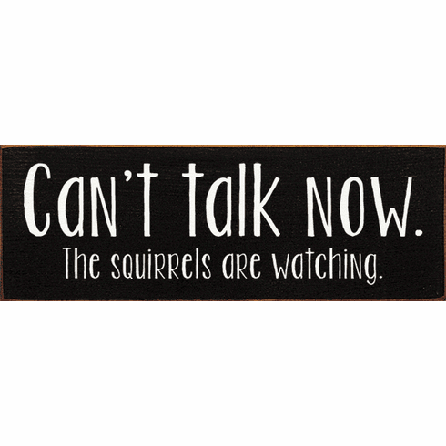 Funny Sign...Can't Talk Now. The Squirrels Are Watching