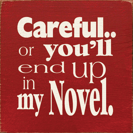 Funny Sign...Careful Or You'll End Up In My Novel