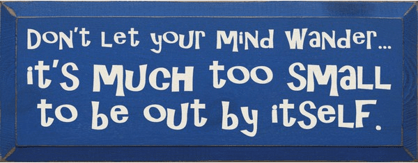 Funny Sign...Don't Let Your Mind Wander...It's Much Too Small