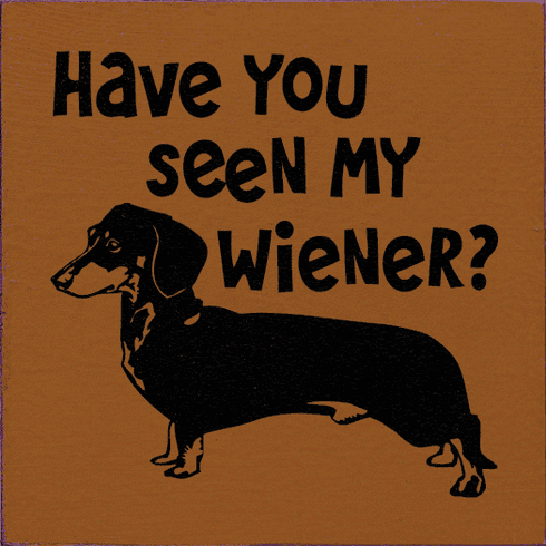 Funny Sign...Have You Seen My Wiener? (Picture Of Dachshund)
