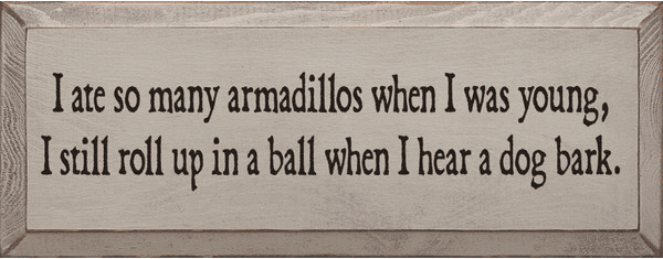 Funny Sign...I Ate So Many Armadillos When I Was Young
