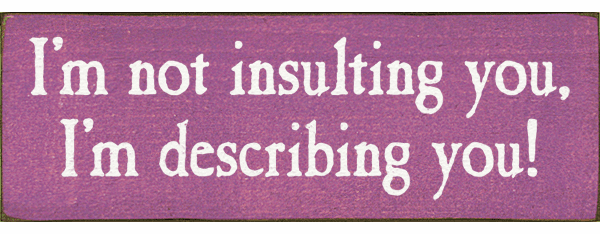 Funny Sign...I'm Not Insulting You, I'm Describing You