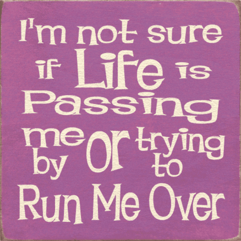 Funny Sign...I'm Not Sure If Life Is Passing Me By Or Trying To Run Me Over