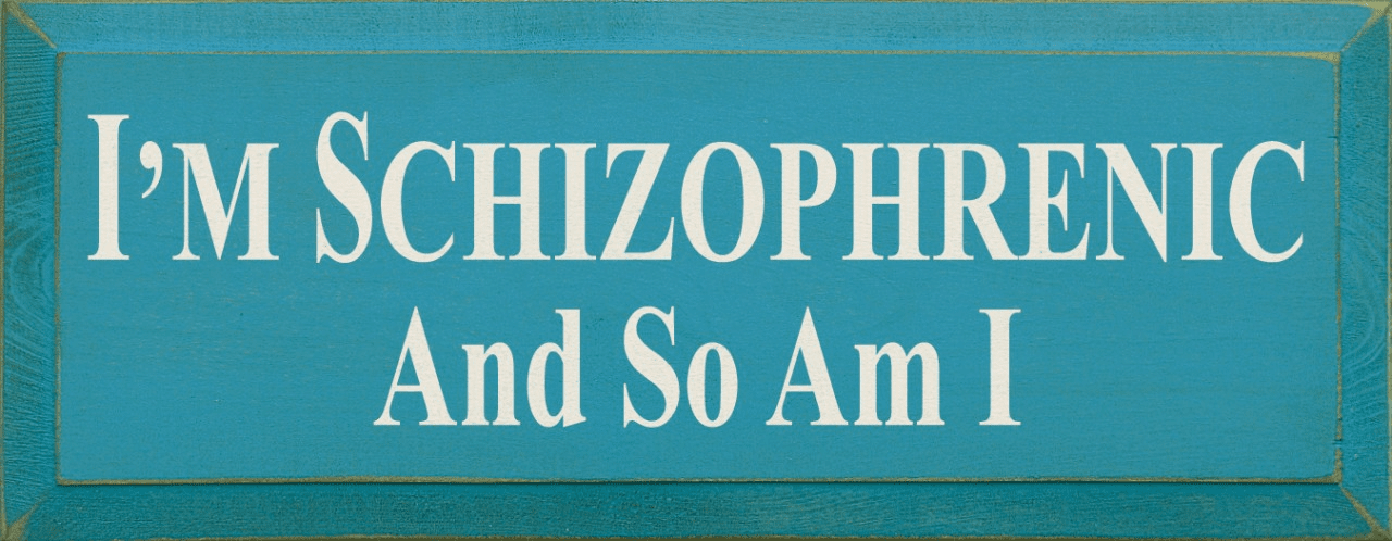 Funny Sign...I'm Schizophrenic And So Am I