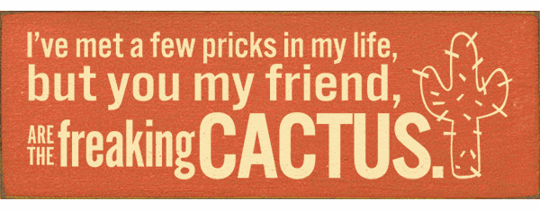 Funny Sign...I've Met A Few Pricks In My Life, But You My Friend