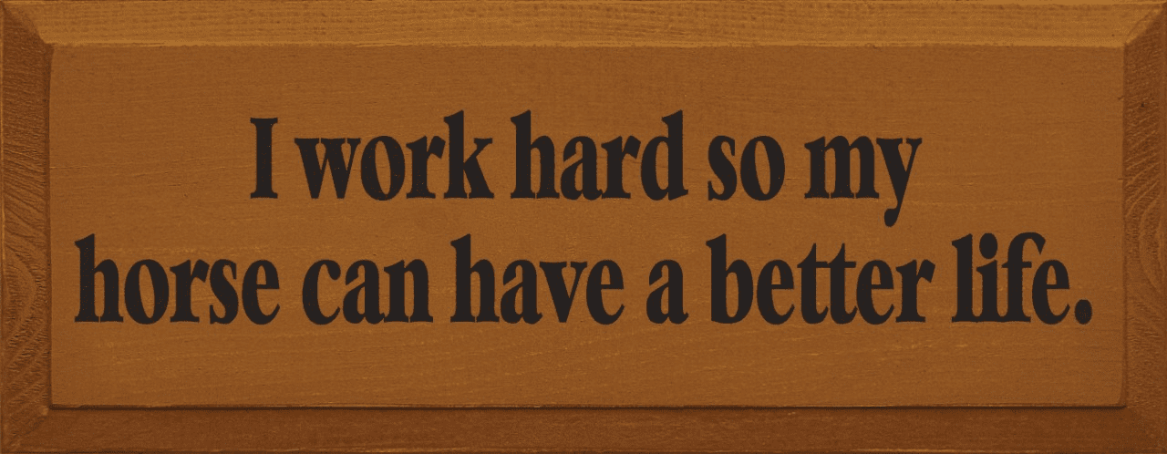 Funny Sign...I Work Hard So My Horse Can Have A Better Life